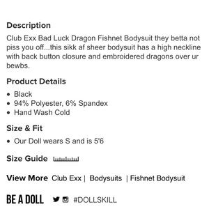 419339ff5 Dolls Kill Tops - Club Exx Bad Luck Dragon Fishnet Bodysuit
